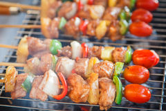 Bar-B-Q or BBQ. Delicious beef bbq on grill stock photos