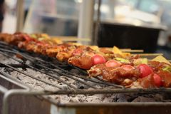 Bar-B-Q or BBQ grill of meat at the market Stock Photography