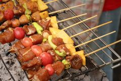 Bar-B-Q or BBQ grill of meat at the market Royalty Free Stock Images