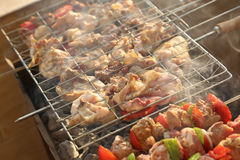 Bar-B-Q. Or BBQ with kebab cooking. coal grill of chicken meat skewers with mushroom and peppers. barbecuing dinner stock image