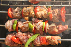 Bar-B-Q. Or BBQ with kebab cooking. coal grill of chicken meat skewers with mushroom and peppers. barbecuing dinner royalty free stock photos