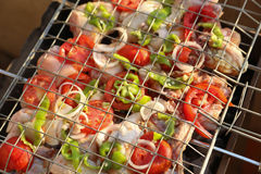 Bar-B-Q. Or BBQ with kebab cooking. coal grill of chicken meat skewers with mushroom and peppers. barbecuing dinner stock photo