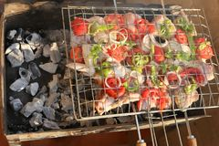 Cooking on Grill Royalty Free Stock Photography