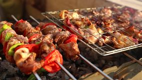 Grilling meat and chicken on barbecue grill-video full HD 1080. Bar-B-Q or BBQ with kebab cooking. coal grill of chicken meat skewers with mushroom and peppers stock footage