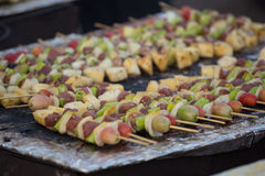 Bar-B-Q or BBQ with kebab cooking. Coal grill of pork skewers wi Stock Photography