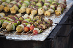 Bar-B-Q or BBQ with kebab cooking. Coal grill of pork skewers wi Royalty Free Stock Photo