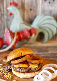 Bar B Q Onion Ring Hamburger Stock Photo