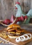 Bar B Q Onion Ring Hamburger Stock Photos