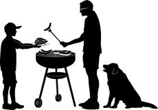 Bar-b-que. Silhouette graphic depicting a man and boy doing outdoor grilling Royalty Free Stock Photography