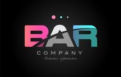 BAR b a r three letter logo icon design. BAR b a r three 3 letter logo combination alphabet vector creative company icon design template modern pink blue white stock illustration