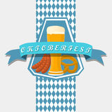 Bar banner Oktoberfest. Vector illustration logo for bar banner oktoberfest,pub during the festival,beer mug with foam filled to the brim,vintage pubs Royalty Free Stock Image
