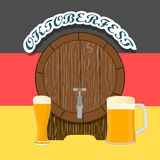 Bar banner Oktoberfest. Vector illustration logo for bar banner oktoberfest,pub during the festival,beer mug with foam filled to the brim,vintage pubs Stock Image