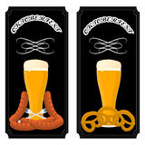 Bar banner Oktoberfest. Vector illustration logo for bar banner oktoberfest,pub during the festival,beer mug with foam filled to the brim,vintage pubs Royalty Free Stock Images