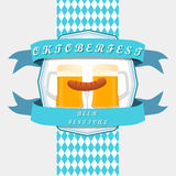 Bar banner Oktoberfest. Vector illustration logo for bar banner oktoberfest,pub during the festival,beer mug with foam filled to the brim,vintage pubs Stock Photo