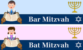 Bar and Bat Mitzvah Banners. Two banners for Bar and Bat Mitzvah with a boy and a girl reading the Torah, with a menorah and a star of David. Eps file available vector illustration