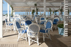 Bar on the beach. Beautiful cafeteria at the beach, Turkey, Side Royalty Free Stock Photography