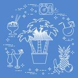 Bar on the beach, cocktails, ice cream, fruit. Bar on the beach, palm trees, cocktails, ice cream, music speakers, banana, pineapple, orange Stock Image