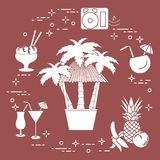 Bar on the beach, cocktails, ice cream, fruit. Bar on the beach, palm trees, cocktails, ice cream, music speakers, banana, pineapple, orange Royalty Free Stock Images