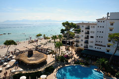 Bar and beach of the Iberostar Alcudia Park in Alcudia Royalty Free Stock Image