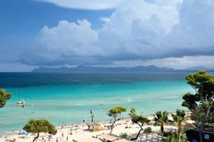 Bar and beach of the Iberostar Alcudia Park in Alcudia Stock Image
