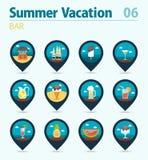 Bar beach pin map icon set. Summer. Vacation Stock Images