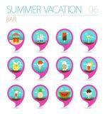 Bar beach pin map icon set. Summer. Vacation Royalty Free Stock Photos