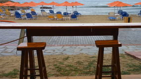 Bar on the Beach under rain. The storm, bad weather at sea. Sithonia, Greece stock video