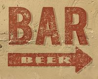 Bar Beer Sign on side of building painted stock photo