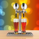 Bar Beer Tap with Beer Glasses. 3d Rendering Royalty Free Stock Photo
