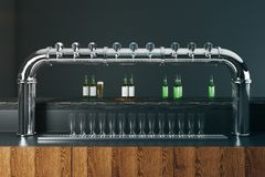 Bar with beer taps Royalty Free Stock Photos