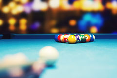 Bar billiards - ready for break shot Royalty Free Stock Photography