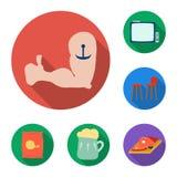 Bar, binnenland en materiaal vlakke pictogrammen in vastgestelde inzameling voor ontwerp Alcohol en voedsel het vectorweb van de  royalty-vrije illustratie