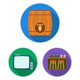 Bar, binnenland en materiaal vlakke pictogrammen in vastgestelde inzameling voor ontwerp Alcohol en voedsel het vectorweb van de  stock illustratie