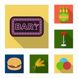 Bar, binnenland en materiaal vlakke pictogrammen in vastgestelde inzameling voor ontwerp Alcohol en voedsel het vectorweb van de  vector illustratie