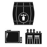 Bar, binnenland en materiaal zwarte pictogrammen in vastgestelde inzameling voor ontwerp Alcohol en voedsel het vectorweb van de  stock illustratie