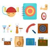 Bar, binnenland en materiaalbeeldverhaalpictogrammen in vastgestelde inzameling voor ontwerp Alcohol en voedsel het vectorweb van vector illustratie