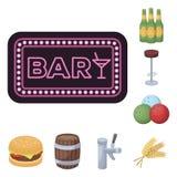 Bar, binnenland en materiaalbeeldverhaalpictogrammen in vastgestelde inzameling voor ontwerp Alcohol en voedsel het vectorweb van royalty-vrije illustratie