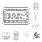Bar, binnenland en materiaaloverzichtspictogrammen in vastgestelde inzameling voor ontwerp Alcohol en voedsel het vectorweb van d vector illustratie