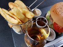 Bar bistro  lunch dinner tasty blackplate Royalty Free Stock Image