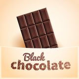 Bar of black chocolate. In creamy pocket Stock Photo