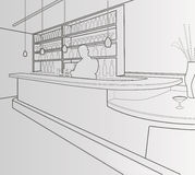 Bar. In black lines at white background Stock Images
