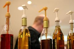 Bar bottles. Coffee liqueurs in the bar Stock Image