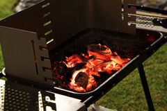 Bar BQ coal on fire in ther party Royalty Free Stock Photography