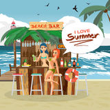 Bar bungalows with bartender and visitor woman on the beach Royalty Free Stock Photo