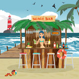 Bar bungalows with bartender woman on the beach ocean coast. Royalty Free Stock Photos