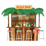 Bar bungalows on the beach ocean coast. Royalty Free Stock Photography