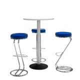 Bar of bureaustoelen en rondetafel op witte achtergrond worden geïsoleerd die Royalty-vrije Stock Afbeelding