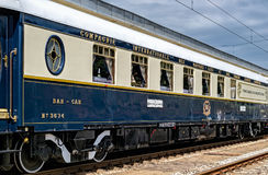 Bar car wagon. The legendary Venice Simplon Orient Express is ready to depart from Ruse Railway station. The luxury train travels between Paris and Istanbul Royalty Free Stock Photography