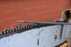 Bar, chain, chain saw and file Stock Photo