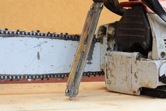 Bar, chain, chain saw and file Stock Image